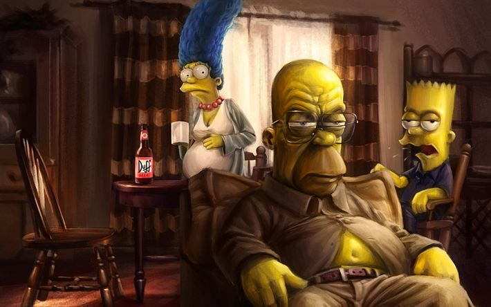 Download wallpapers The Simpsons, art, Homer, Marge, Bart, Homer Simpson, Bart Simpson