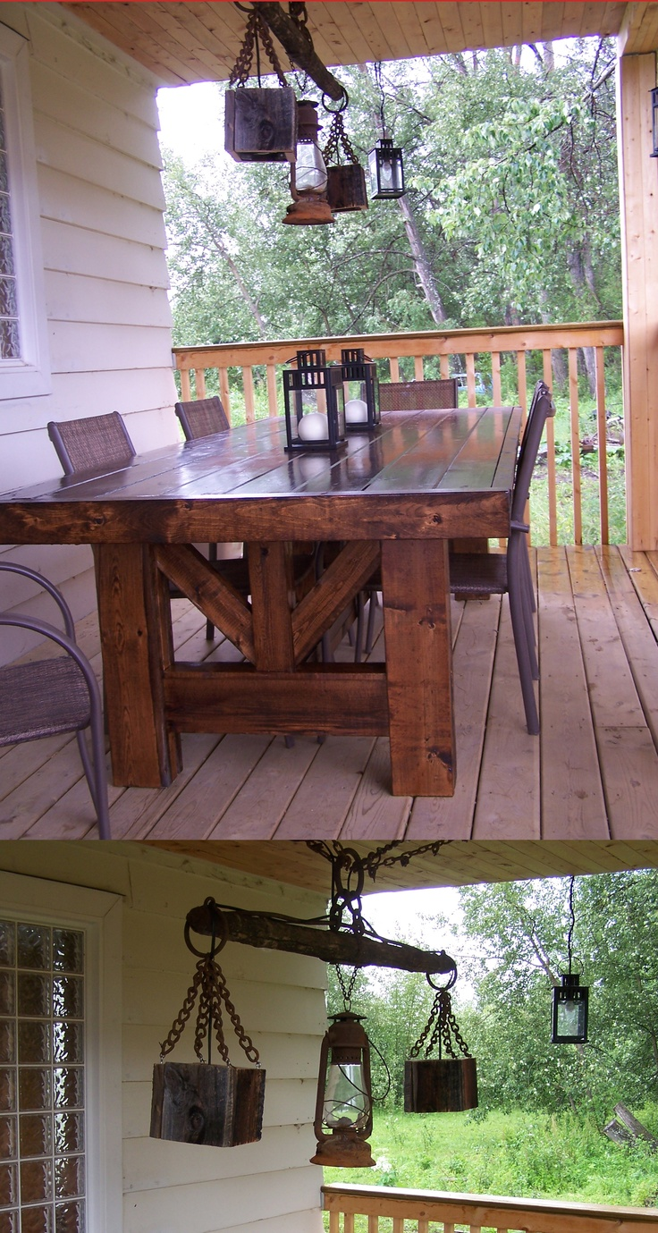 Outdoor Table And Light For The Deck Old Horse Drawn