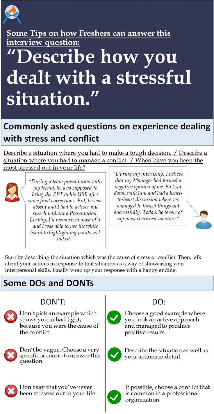 describe how you dealt with a stressful situation   How to Get a New