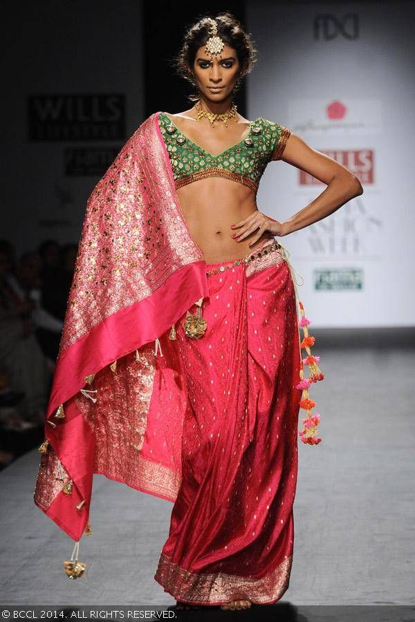 Sari by Anupama Dayal at Wills Lifestyle India Fashion Week (WIFW) autumn-winter (AW) 2014