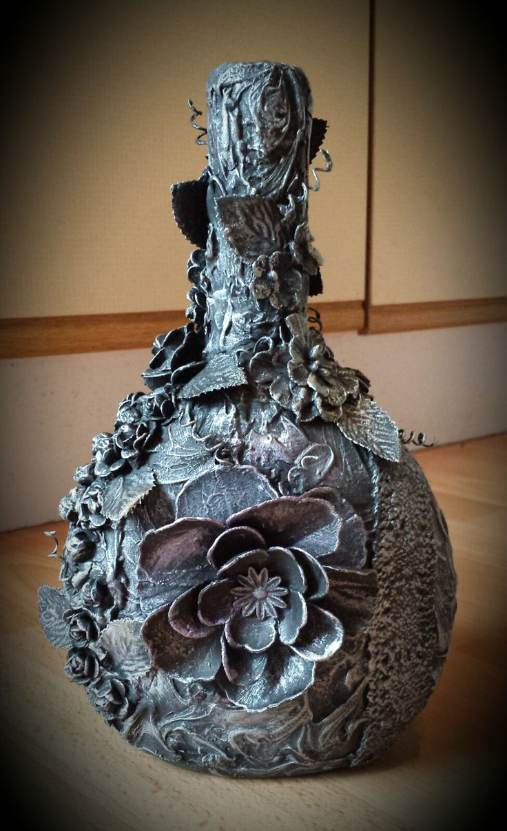 Mixed Media Art - Altered Bottle By Heather at Heather's Craft Studio