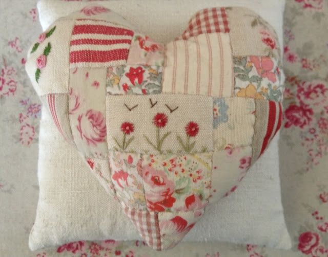 Make this gorgeous patchwork heart shaped cushion