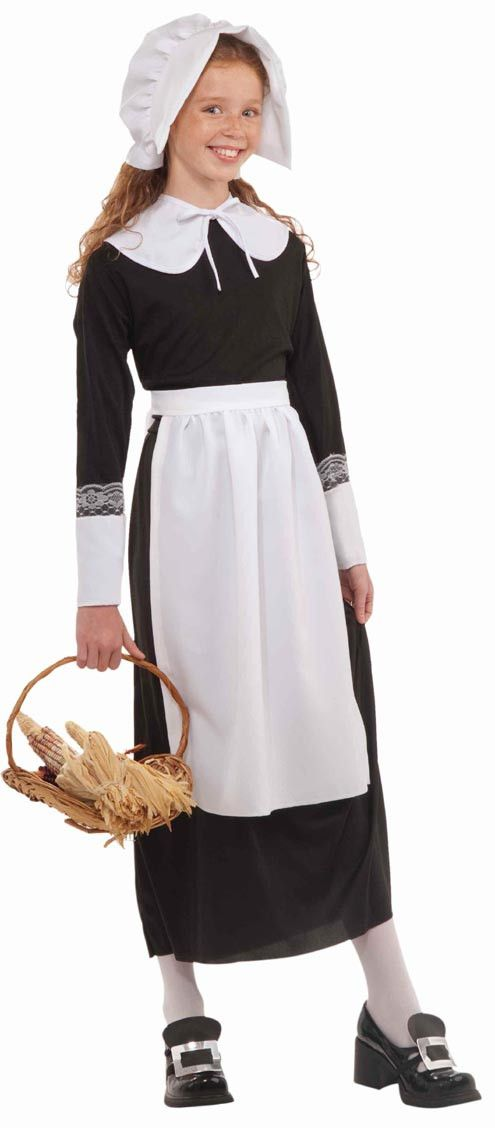 The Child Instant Pilgrim Set Thanksgiving costume children size medium contains a bonnet, collar, cuffs and apron. This Thanksgiving costume is designed for medium children with a height from 46 inch