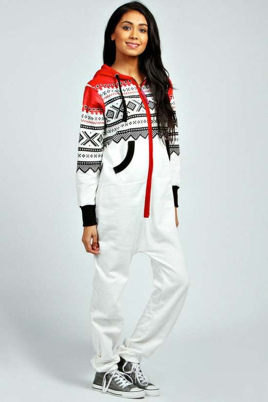 White Aztec Womens Adult Onesie    Eadie Aztec Print Contrast Cuff Onesie, Stay warm this winter in a cosy #Onesie!  $25.00