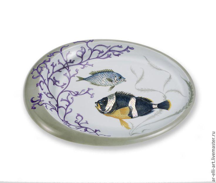 """Купить Фарфоровая декоративная тарелка. """"Рыбки"""" - разноцветный, фарфоровая посуда, фарфоровая тарелка, авторская работа"""
