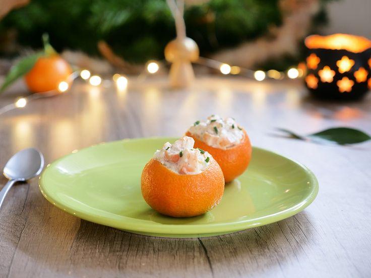 #Clémentine farcie aux #crevettes et #fromage frais. Encore une idée d'#entrée de #Noël simple et #raffinée : Si vous voulez manger léger...