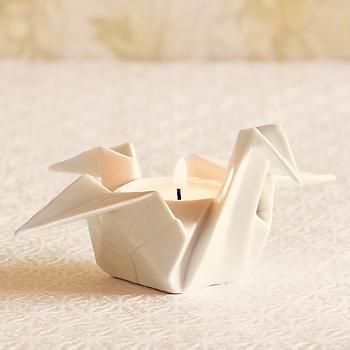 origami crane candle holder