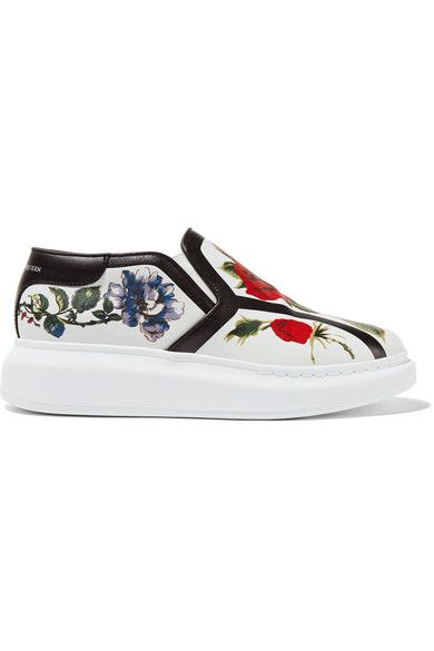 ALEXANDER MCQUEEN Floral-print leather slip-on sneakers