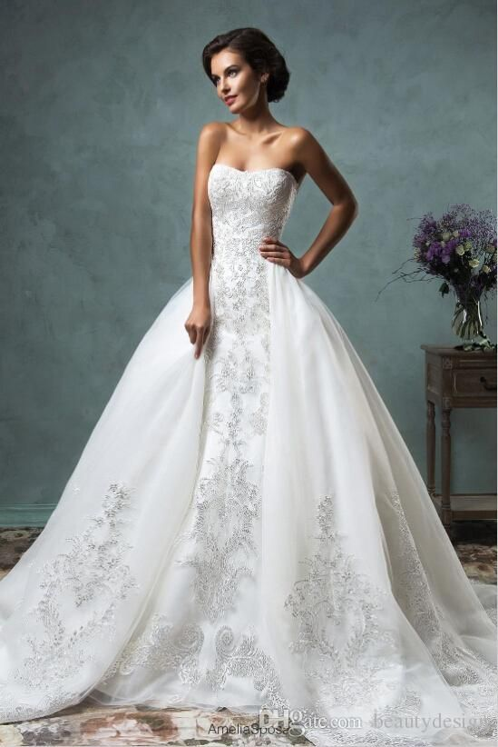 2016 Sheer Removable Detachable Overskirt Long Sleeve Mermaid Trumpet Wedding Dresses Off The Shoulder Court Train Lace Bridal Gowns AS2015