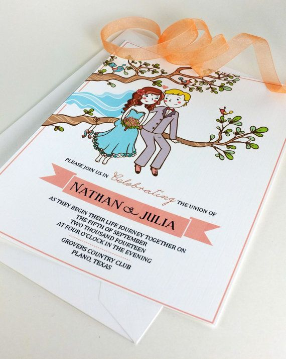 Quirky Wedding Invitations and Wedding by TravelingMoonDesign, $85.00
