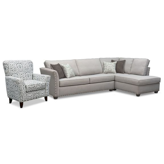 The Mckenna Sleeper Sectional Collection - Pewter   Value City Furniture