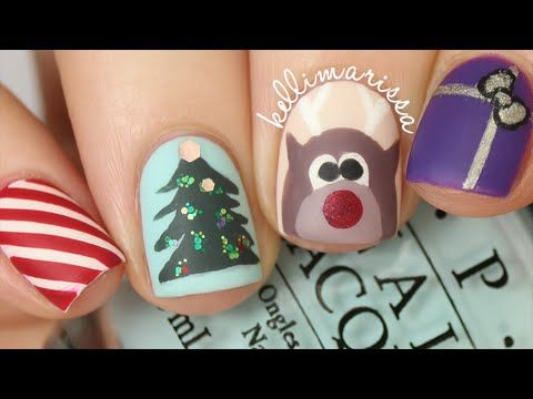 4 CHRISTMAS NAIL ART DESIGNS! (EASY) || KELLI MARISSA - YouTube