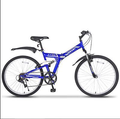 Folding-Mountain-Bike-26-034-7-Speed-Bicycle-Shimano-Hybrid-Suspension-Sports-Blue