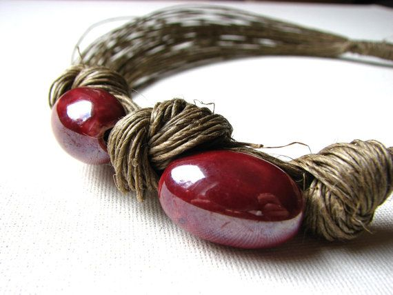 Sweet Cherries linen necklace by GreyHeartOfStone on Etsy