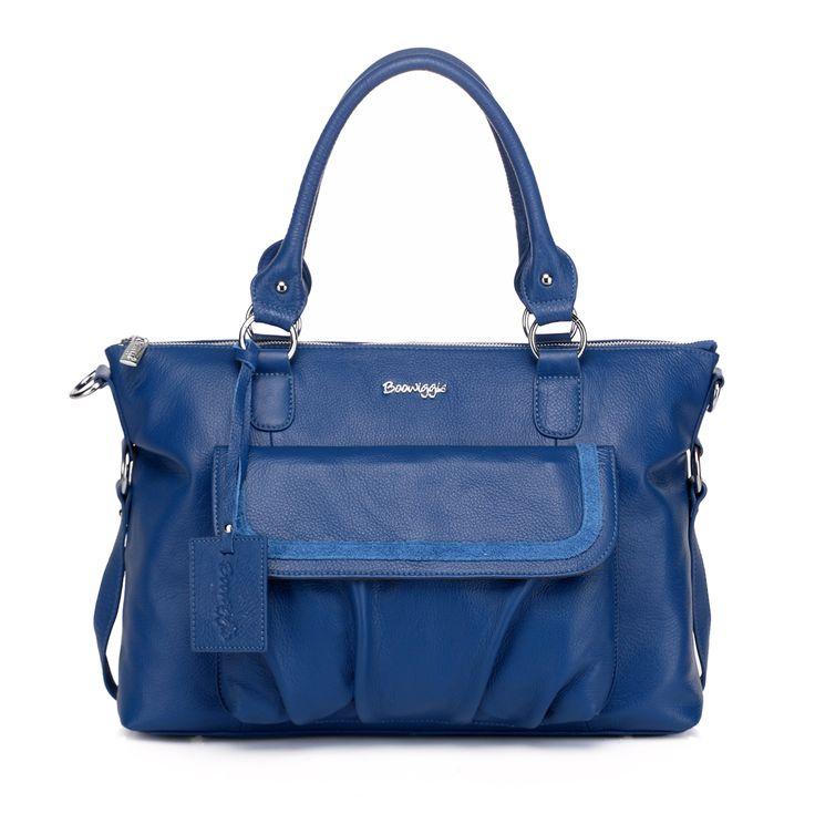 Boowiggie Lily leather nappy bag in limited edition cobalt blue! www.boowiggie.com.au