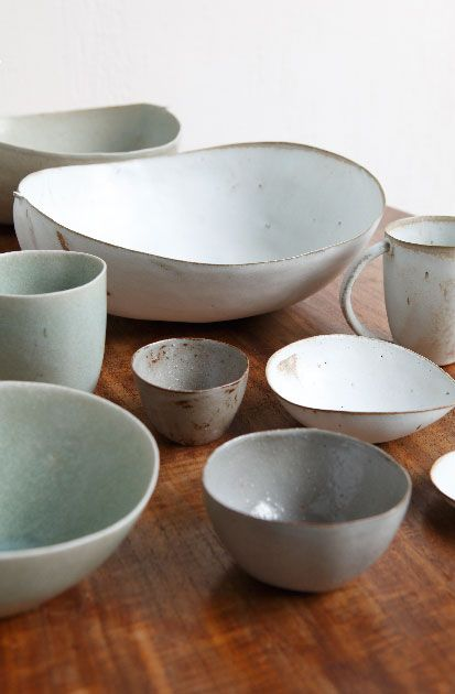 """""""Featherweight Potteries"""" are molded on various natural forms, including coconut shells. Via jurgenlehlshop.jp"""