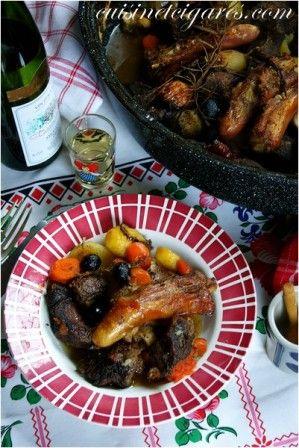 Paleron de Bœuf et pieds de Cochon en Daube aux légumes confits d'Antoine Westermann (cuisson dans un roaster) - Cuisine et Cigares