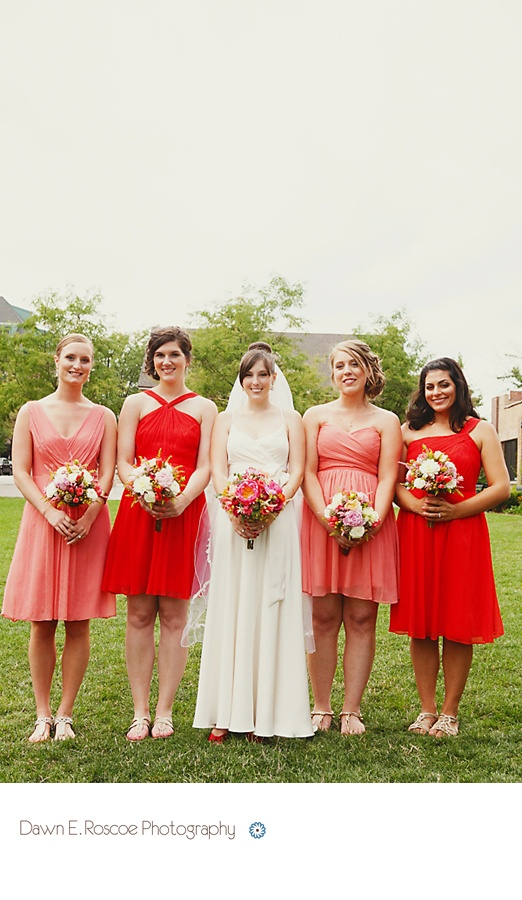 Bright Coral & Vivid Poppy | J.Crew Bridesmaid  How would you guys feel about this mix?  It'd be easy to do (j.crew dresses)