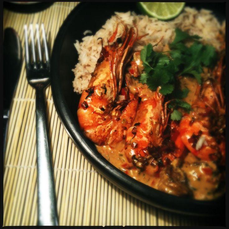 recept Tijgergarnalen in rode curry en jasmijn rijst oosters aziatisch koken gezond food blog