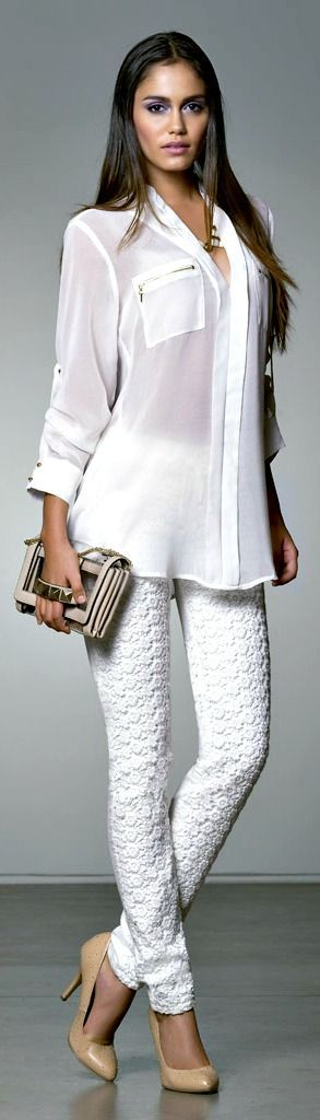 white shirt trousers @roressclothes closet ideas #women fashion outfit #clothing style apparel