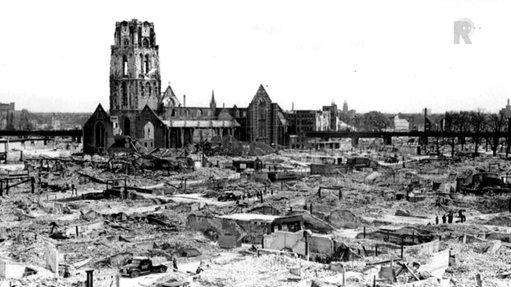 Bombardementen in Rotterdam (14 mei 1940 rond 13.30 uur) door Duitse bommenwerpers zorgend voor veel schade. Ook andere steden zouden gebombardeerd worden als Nederland zich niet zou overgeven. Uiteindelijk gaf Nederland zich over op 15 mei 1940. Dit was het begin van de Duitse militaire overval op heel BeNeLux