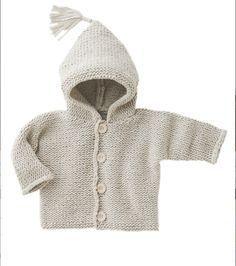 On craque pour ce joli burnous : un adorable gilet à capuche. A tricoter pour les bébés de 3 mois à 2 ans ! Il est réalisé au point mousse et jersey endroit dans un fil 100 % coton.  ...