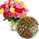 Assorted dry fruits with bouquet of mixed color roses to Hyderabad delivery. We deliver all occasions gifts in Hyderabad. Available at : www.flowersgiftshyderabad.com/Combo-Gifts-to-Hyderabad.php