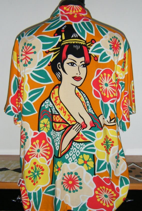 tiki mens Mambo Loud Shirt Geisha size Large bargain