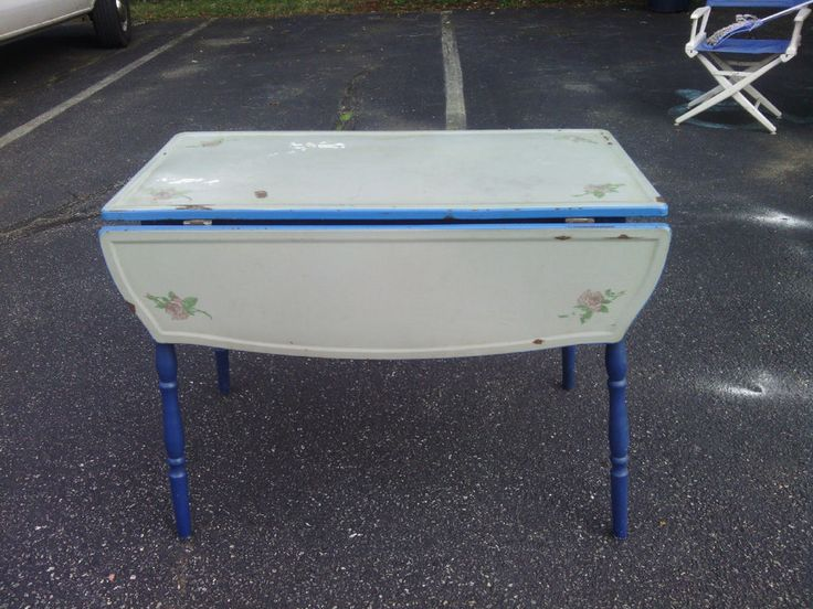 Enamel Hand Painted Kitchen Table Vintage/antique Blue/grey Top Blue Wood  Body