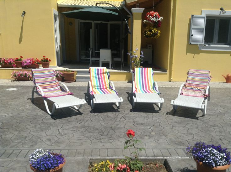 Loads of room for sunbathing on the large patio at Villa Mimosa Guest House