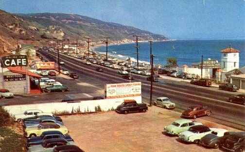 PCH, Malibu Pier, Malibu Cafe in the 1950s.  Image scanned from a period postcard.