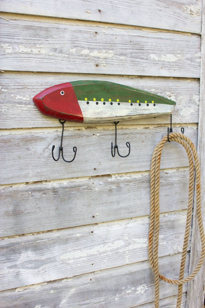 Nautical Coastal Beach Home Decor - Wooden Fish Lure Coat Rack