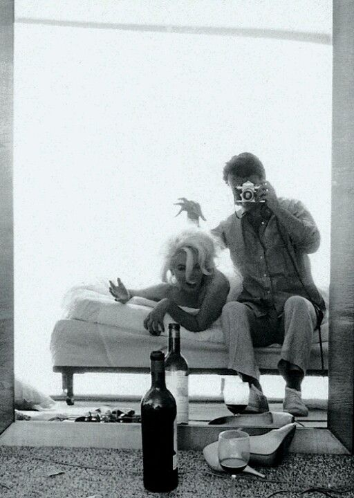 Off to bed...#noalarmclock Marilyn Monroe and James dean 1962 photo shoot . Fooling Around & Drinking Wine