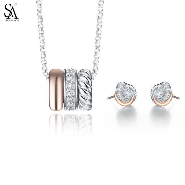 Silver Jewelry Set: Necklace, Pendant and Stud Earrings | Genuine 925 Sterling Silver