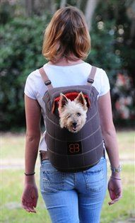 """$32.00-$36.00 Dog Carrier LENIS PACK small dog cat kitty rabbit ferret pet carrier travel tote backpack or front carrier. Size small 8.5""""L x 5.5""""W x 13""""H. Color=Mocha... - The carrier is equipped with an attached leash to keep pet secure.This stylish carrier has stylish checkered stitch finish, soft and durable nylon lining and can be carried on the front or back. The pack makes a comfortable spo ..."""