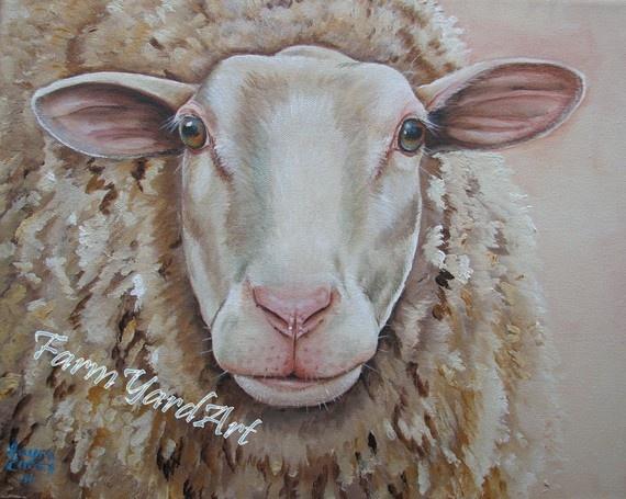 Temple Original Fine Art sheep painting by Laura Carey.... Love