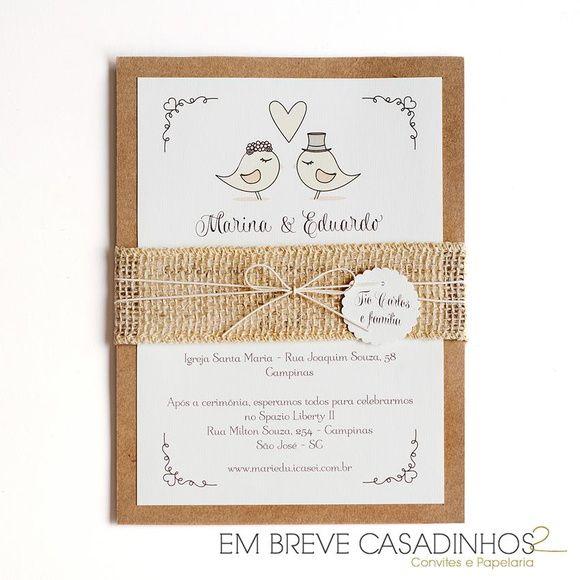 Convite de Casamento - Love Birds, Convite de Casamento Rústico, convites…