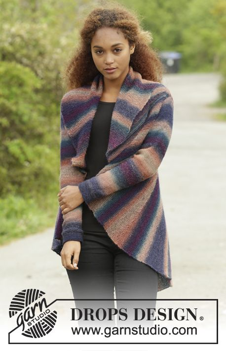 Spectre by DROPS Design - simple but stunning colour work in this new jacket. Free #knitting pattern