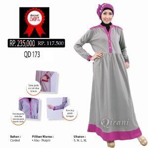 Baju Gamis Muslim Wanita Qirani Melati QD 173 Abu - Ramadhan Sale
