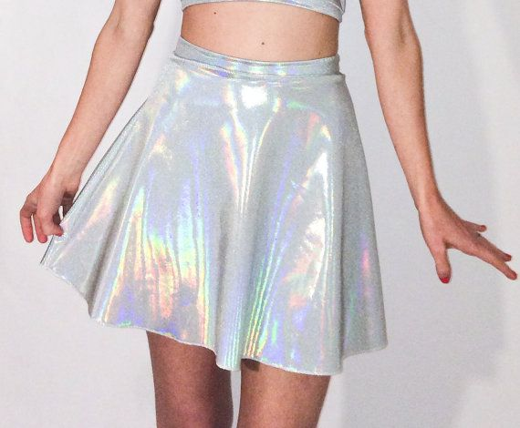 Handmade and Made to Order Available in Size S, M,L.  Holographic Skater Skirt  *High Waist *Flared Skirt *Stretch Knit *Handmade *Serged Seams