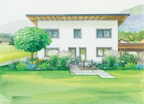 Terrasse und blütenreiche Beete