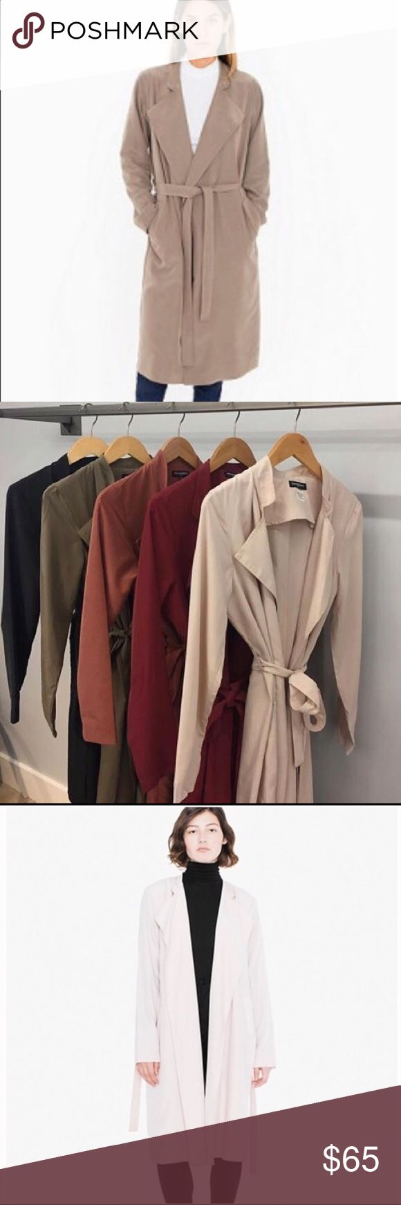 American Apparel lightweight Dylan trench tan nude Size m/l brand new never worn American Apparel Jackets & Coats Trench Coats