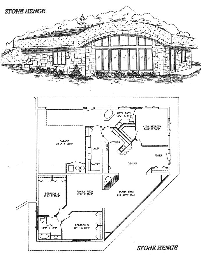 Earth Sheltered Technology: Stonehenge Home Floor Plan