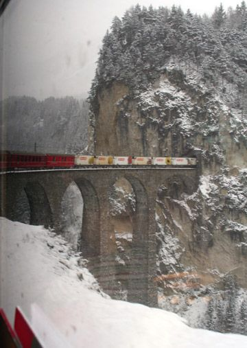 Landwasser Viaduct, with a St Moritz to Chur local train crossing
