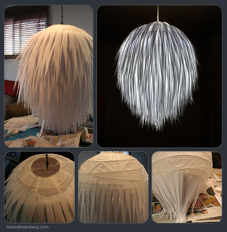 Lamp made ​​of paper stripes on Ikea Pendant lamp shade