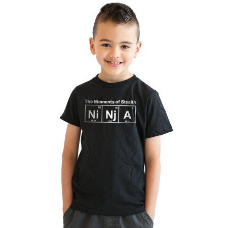 Crazy Dog TShirts - Youth Ninja Element T shirt Funny Science Warrior Novelty Kids Graphic Nerdy Tees