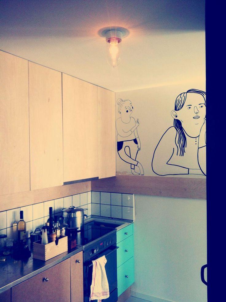 platsbyggd kök turkos plywood moderskeppet stockholm