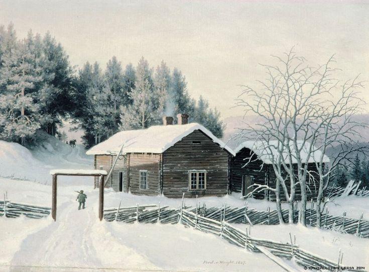 Ferdinand von Wright (1822-1906) Talvimaisema auringonlaskun aikaan / Winter Landscape at Sunset 1867 - Finland - Finnish horse