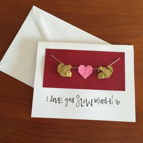 Sloth Pun Valentine's Card   Origami Sloth Valentine's Day Card   Card for Sloth Lovers   Origami Heart   Romantic Card   Fun Romantic Card