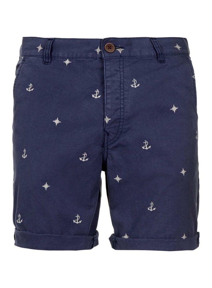 Blue Nautical Motif Shorts - Men's Shorts - Clothing - TOPMAN USA